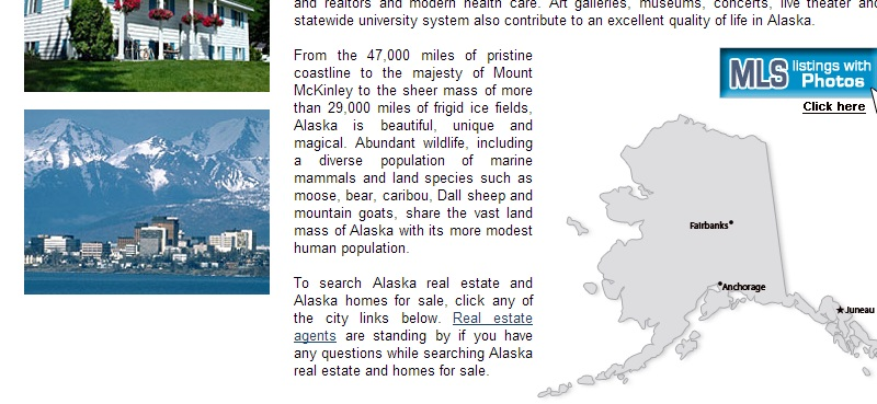 Скриншот с сайта alaska-homes-for-sale.com