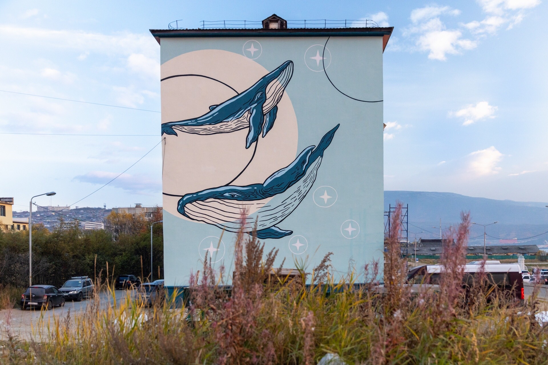 Ранее, Литвинов нарисовал семью китов на торце дома у берега бухты Нагаева. Идея урбаниста Натальи Ковалевой, финансовую поддержку оказал Денис Розенко, организационно помог департамент САТЭК