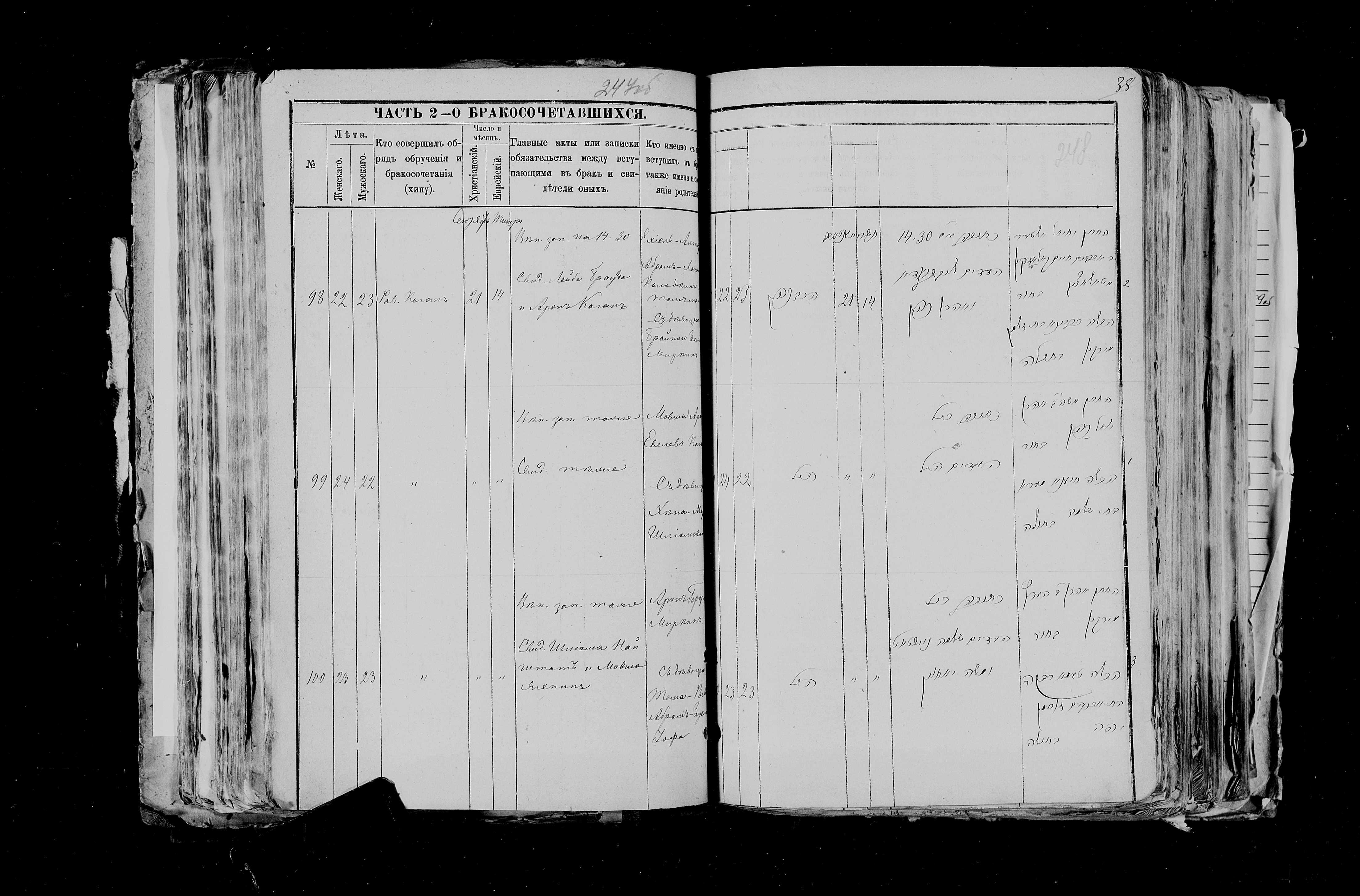 Арон Герцевич Миркин и Тома Ривка Йофе 21 сентября 1884, запись 100, пленка 007766484, снимок 510