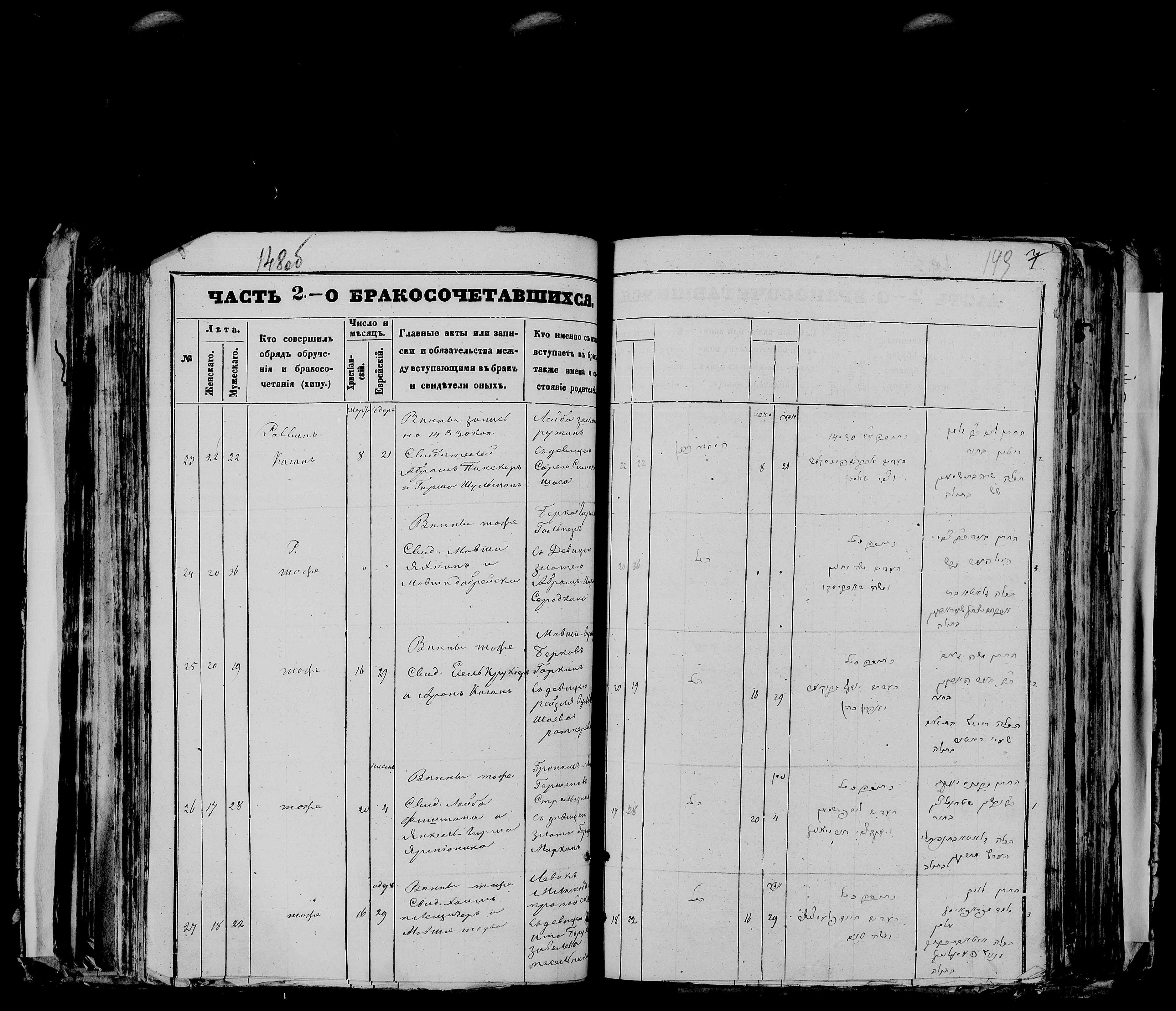 Гроним-Янкель Гершенович Стрельцын со Златой Нафтали-Герцевной Миркиной 20 марта 1873, запись 26, пленка 007766479, снимок 529