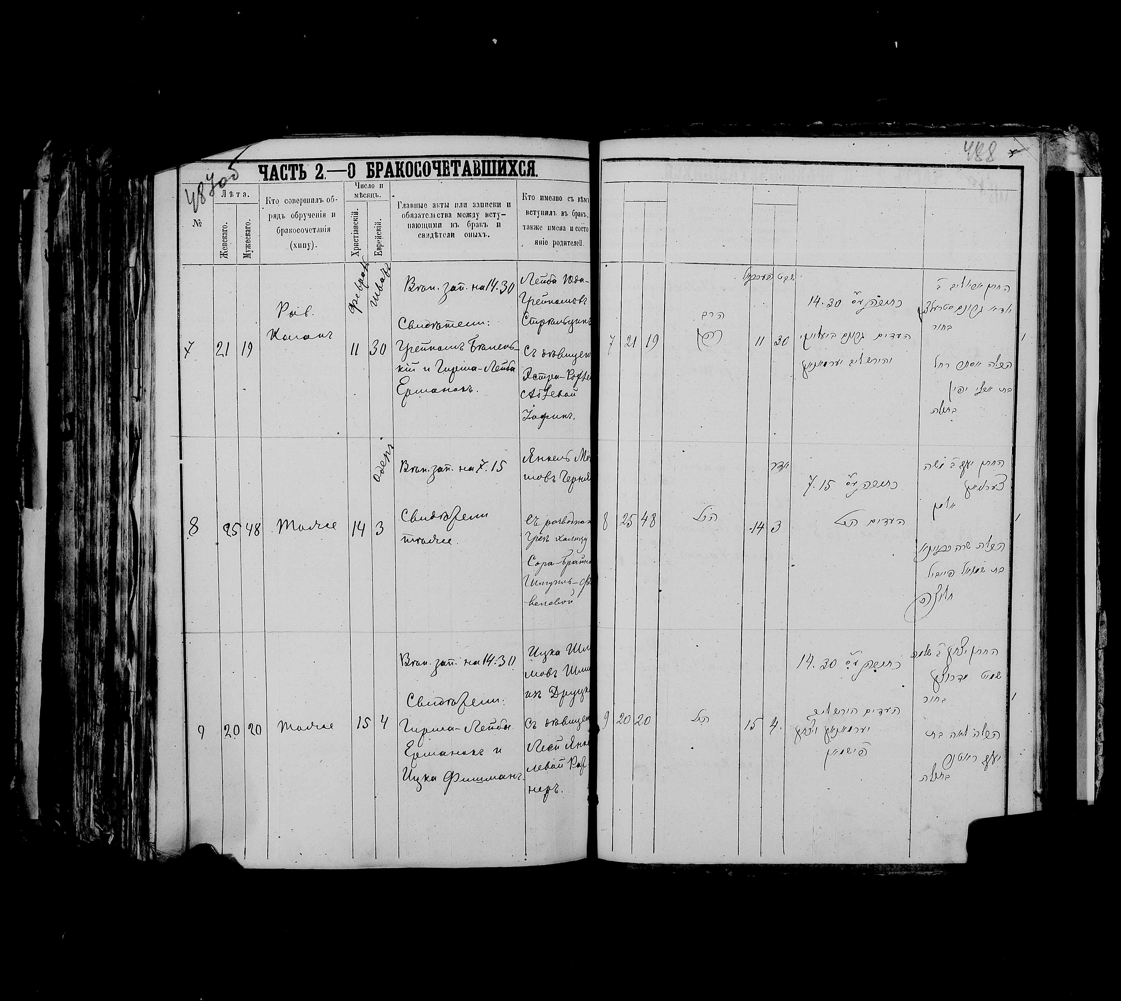 Арье Лейб Юда-Гронимович Стрельцын с Эстрой-Рохлей Абрам-Абелевной Йофиной 11 февраля 1879, запись 7, пленка 007766479, снимок 862