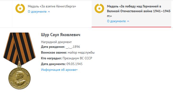 За победу Шур Саул Яковлевич Память народа