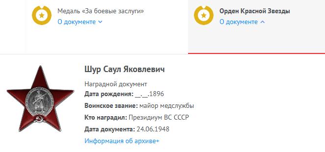 кр Звезды Шур Саул Яковлевич Память народа
