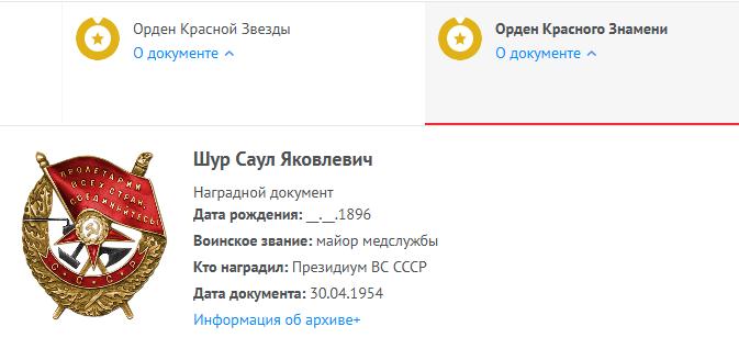 кр Знамени Шур Саул Яковлевич Память народа