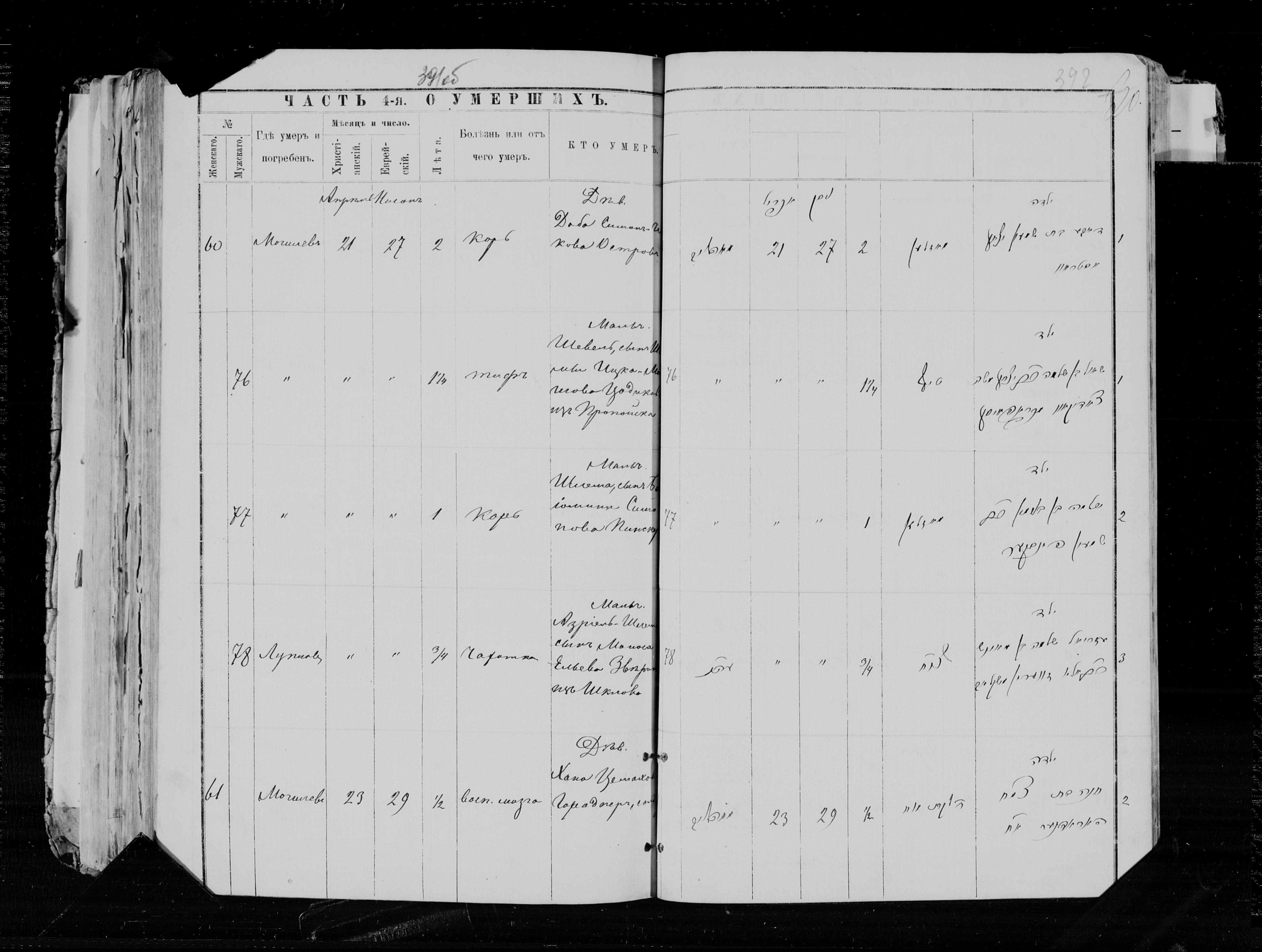 Доба Ицкова ум. 21 апреля 1894, запись 60, пленка 004563097, снимок 916