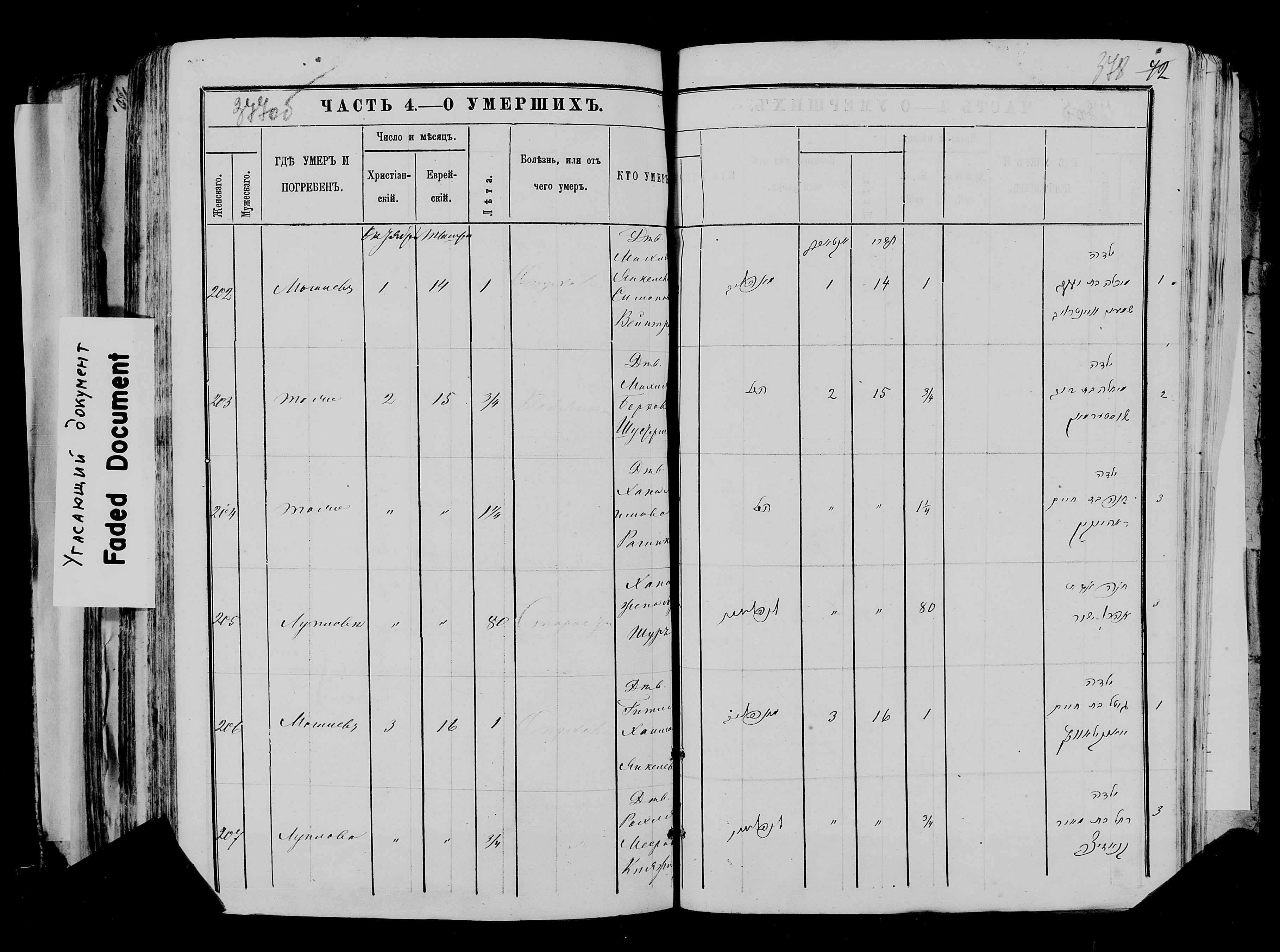 Хана жена Арона Шура ум. 2 октября 1875, запись 205, пленка 007766481, снимок 508