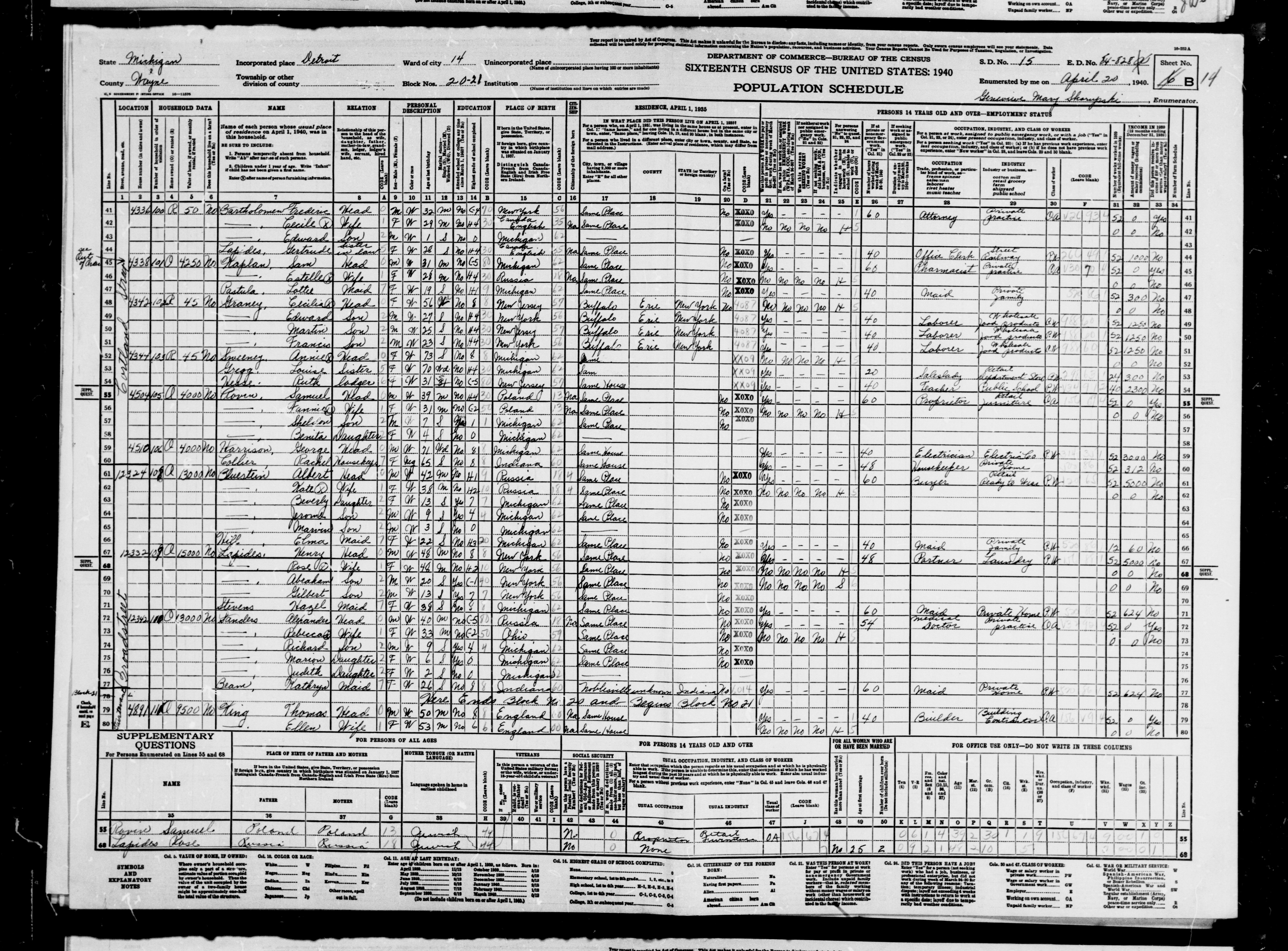 Федеральная перепись США 1940 года - Rebecca Sanders