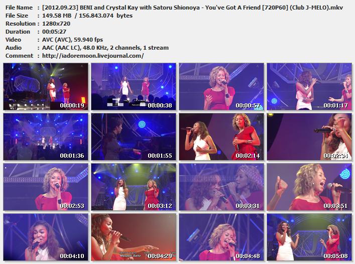 [2012.09.23] BENI and Crystal Kay with Satoru Shionoya - You've Got A Friend [720P60] (Club J-MELO).mkv