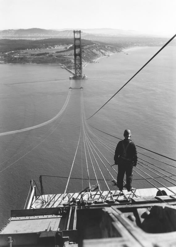 vintage golden gate guy on cables