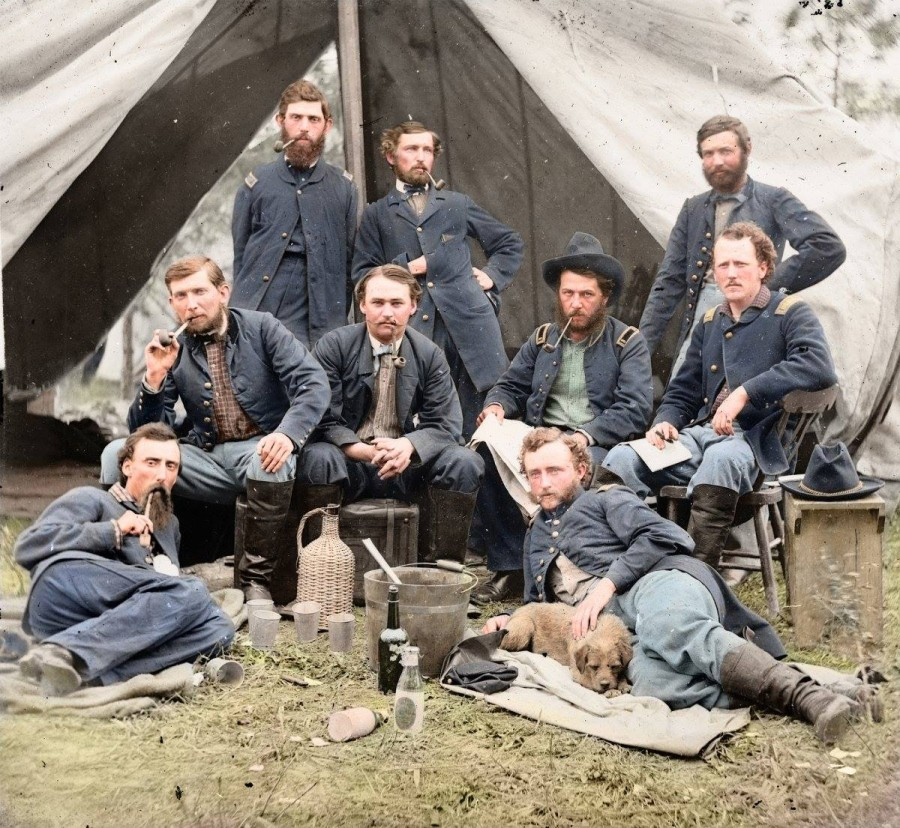 vintage civil war colorized custer and dog