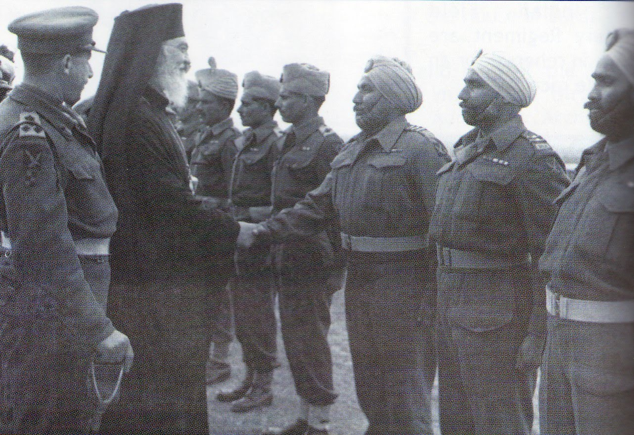 Archbishop Damaskinos of Greece March 1 1945 - visit men of the 4th Indian Division.