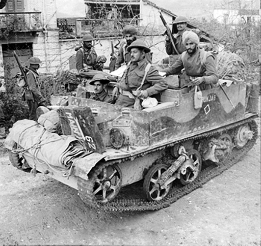 Members of Punjab Regiment on a bren gun carrierin Florence italy 1944