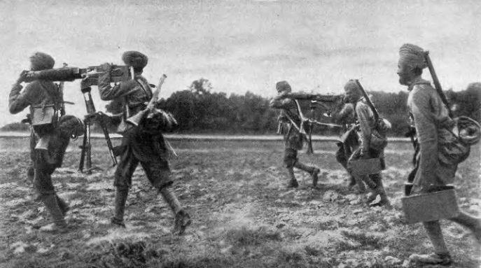 Пулеметная команда англо-индийских войск на французском фронте ПМВ