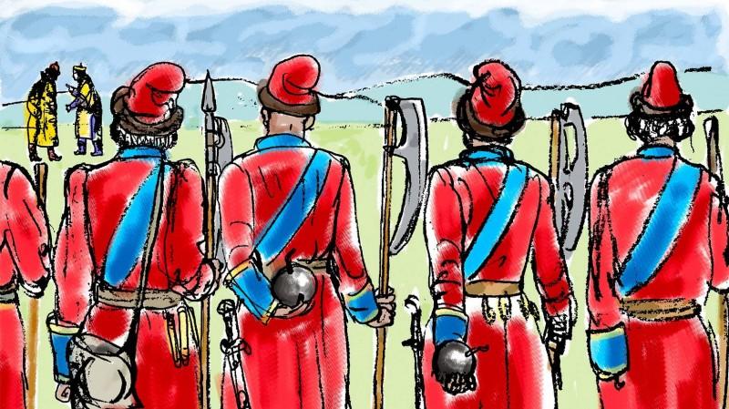 Стрельцы с гранатами за спиной