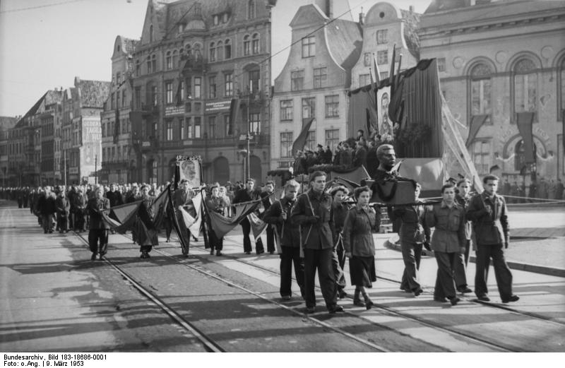 Citizens of Rostock - Germany mourning the death of Joseph Stalin - 9 Mar 1953