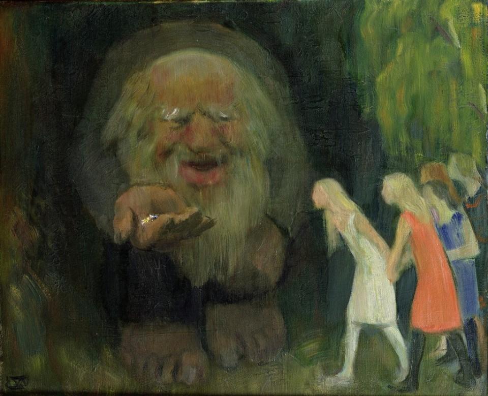 картинка Эрика Вернешёлля Тролль приманивает девушек золотом
