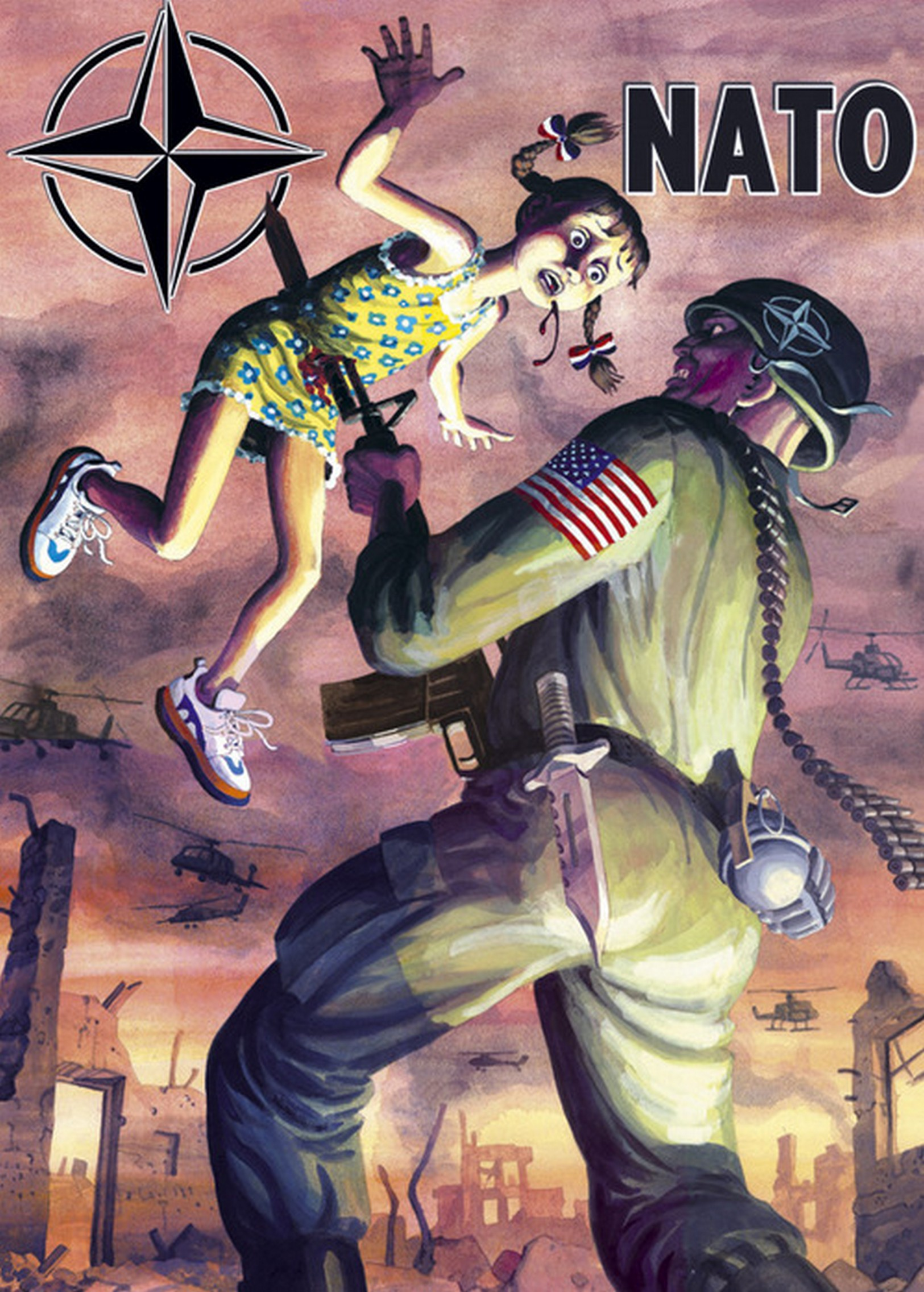 Serbian-poster-used-during-the-NATO-bombing-of-1999.The-girl-represents-Yugoslavia-as-shown-by-her-ribbons-being-in-the-color-of-the-Yugoslavian-flag.