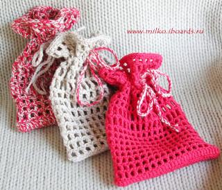 Вязаный мешочек для подарков