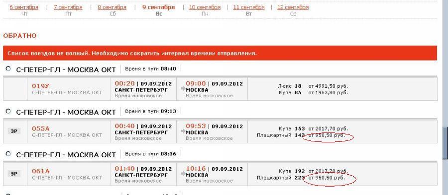 стоимость билетов на поезд до санкт петербурга:
