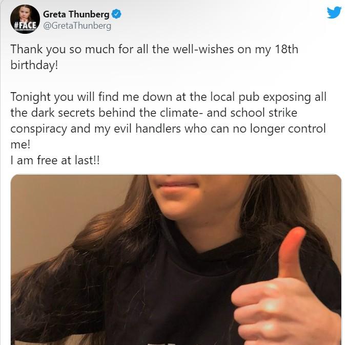 Грета Тунберг: ...сегодня у меня совершеннолетие. И я его встречу в местном