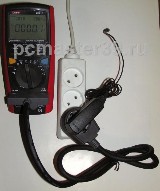 показания прибора, измерение потребления зарядного устройства в холостом режиме