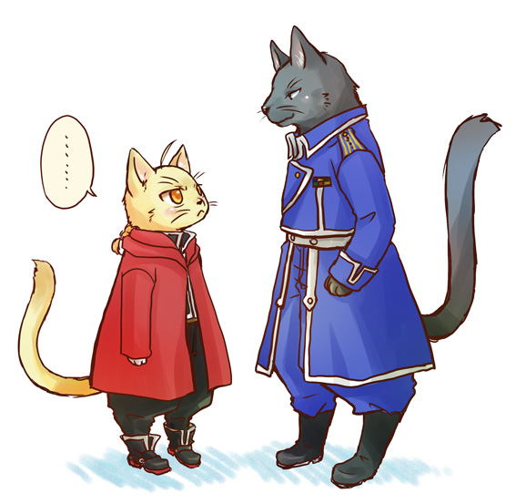 FMA fanart - Roy and Ed 4628 - as cats - by pixiv user 1570052
