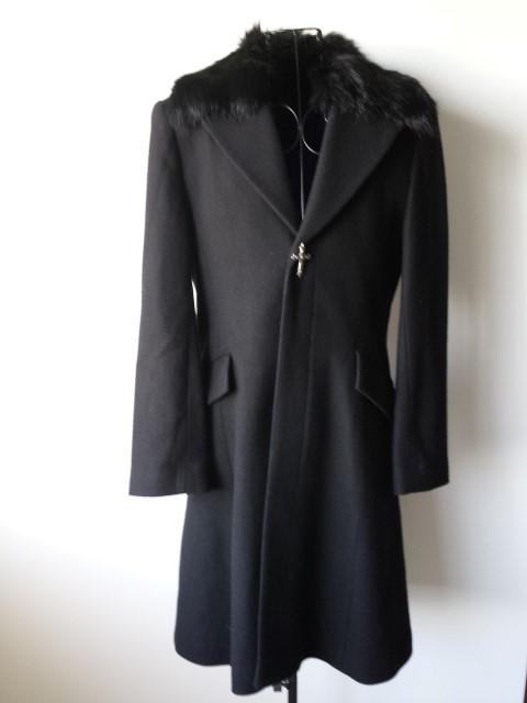 EGA-79396 Rabbit Fur Collar Coat