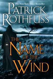 Book cover for The Name of the Wind by Patrick Rothfuss. Contains man in cloak walking towards tree in distance.