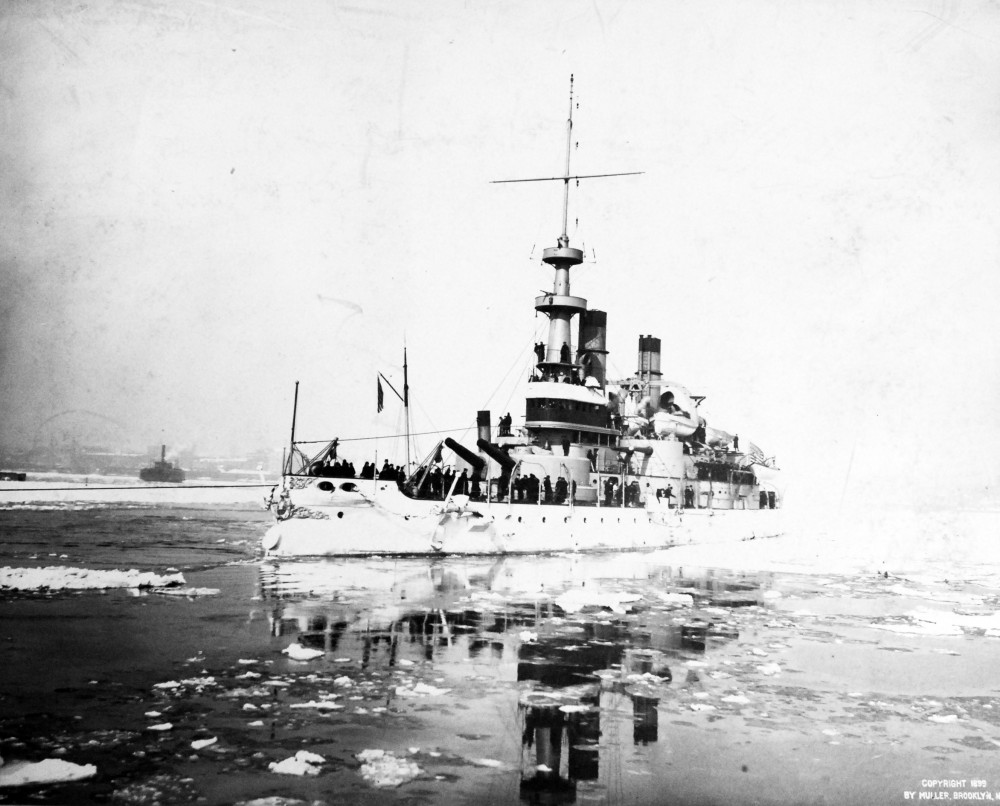 USS Indiana (Battleship #1). Photographed by Enrique Muller, 1899