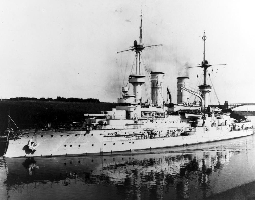WETTIN (German battleship, 1901-1921), photo by A. Renard, 1907