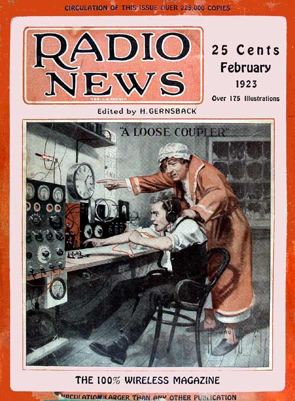Radio News, February 1923. Art by Howard Vachel Brown