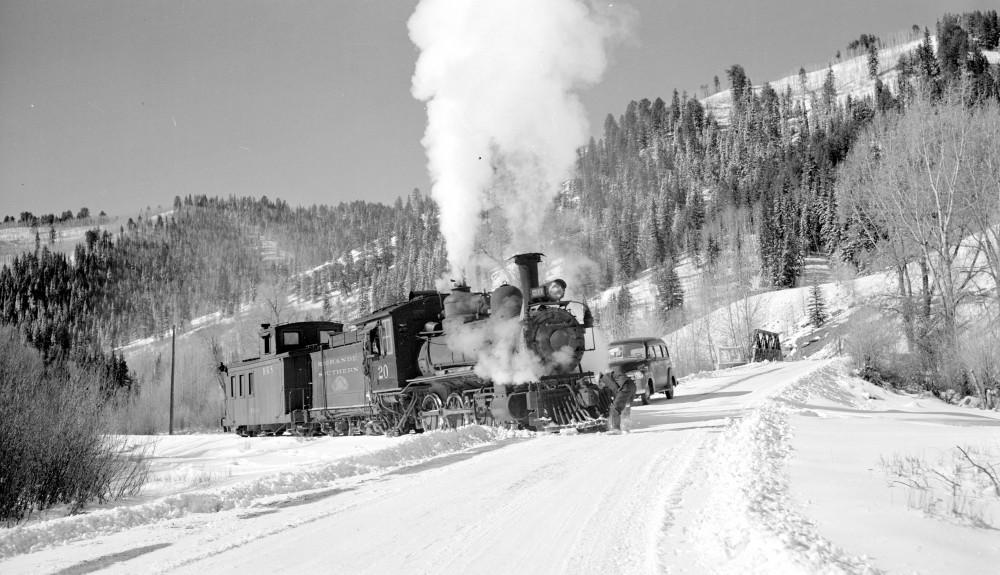 Rio Grande Southern narrow gauge locomotive, engine #20 type 4-6-0. Montelores, Colorado, November 16, 1951