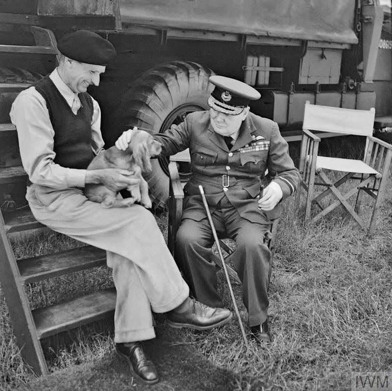 Winston Churchill and Bernard Montgomery & his dog (named Rommel) in Normandy at Montgomery's caravan at his headquarters at Chateau Creully, 7 August 1944