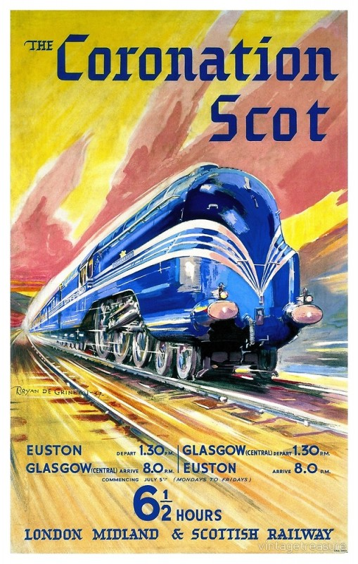 Fully restored vintage railroad travel poster from England. From 1937