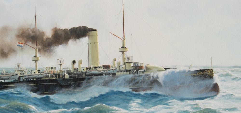 Arnold de Lange - Pantserschip `Evertsen` op de Noordzee omstreeks 1896 (Dutch Coastal defense ship `Evertsen`)