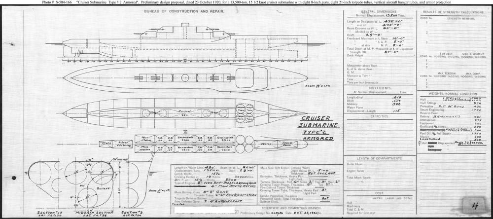 Cruiser Submarine Typr #2 Armored, 23 Oct 1920. 8x8-inch, 2x4-inch, 4 aircraft