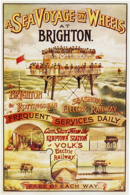 Poster of Daddy Long Legs, unusual seagoing railway that existed in Brighton, UK, between 1896 and 1901