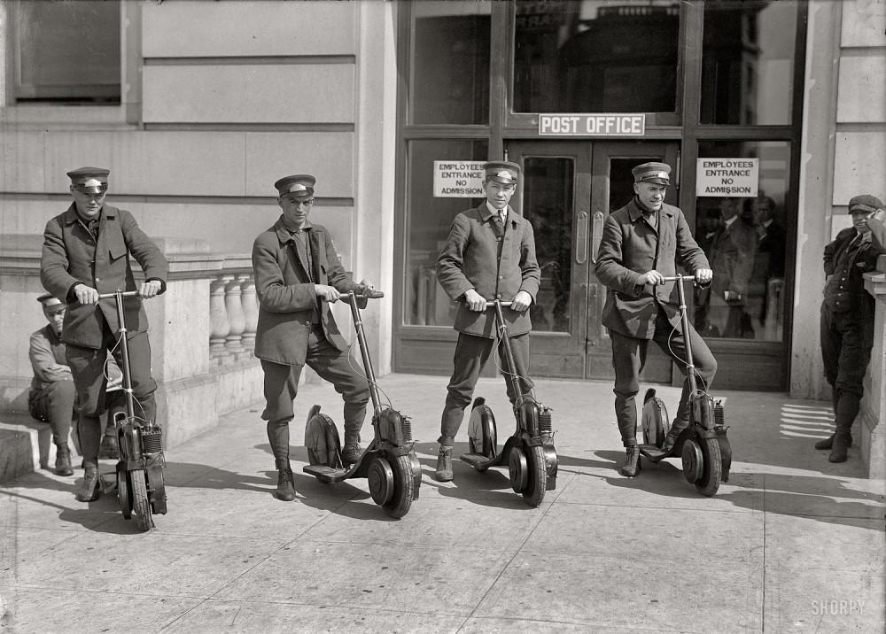 Washington, D.C., circa 1917. Post Office postmen on scooters.