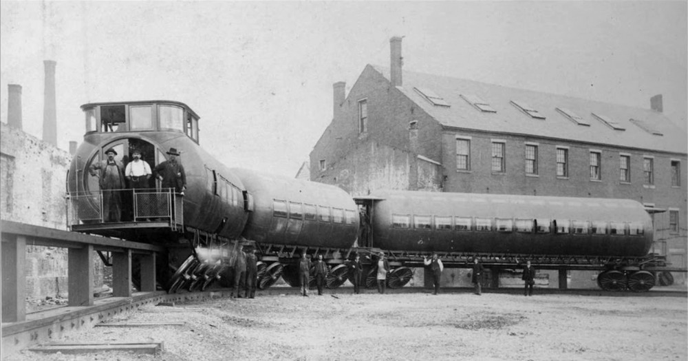 Joe Meigs' test train posed with its crew for the photographer circa 1886