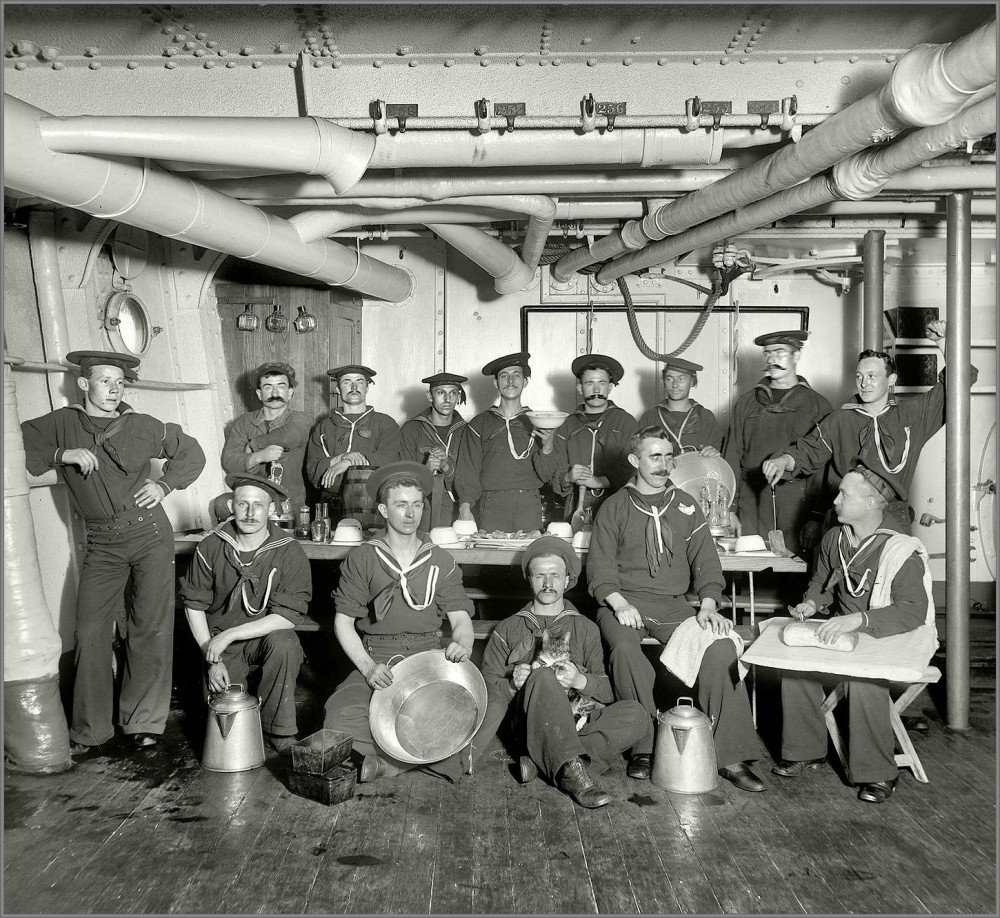 Cooks and kittie mascot aboard predreadnought battleship USS Maine in 1896