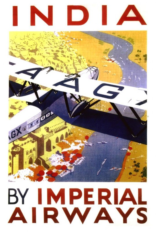 India by Imperial Airways - British Travel Poster - art by William Henry Archibald Constable - c 1933
