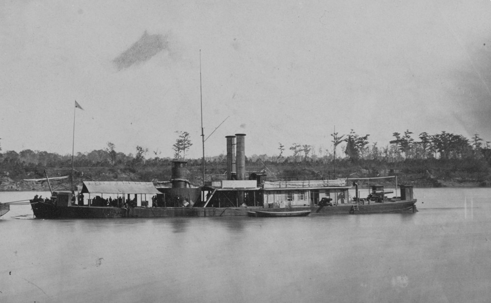 USS Ozark on the Western Rivers. Photographed 1864 or 1865