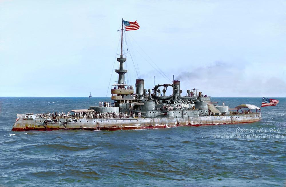 USS Oregon returns from Cuba after winning the Spanish-American War of 1898