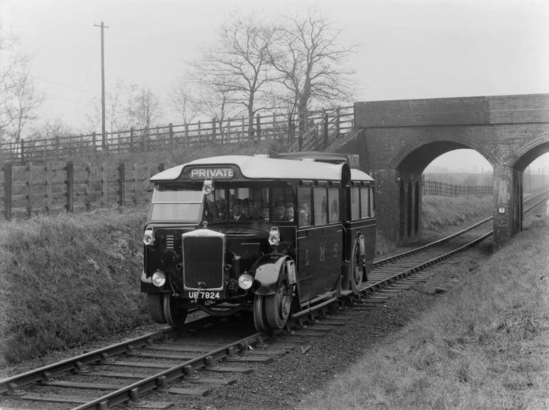 The London Midland & Scottish's Karrier's experimental Ro-Railer, 1931. It could run on roads, and on standard gauge track
