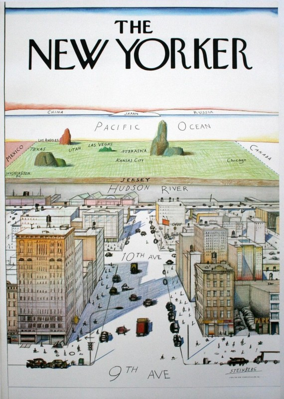 View of the World from 9th Avenue by Saul Steinberg as the cover of the March 29, 1976, edition of The New Yorker