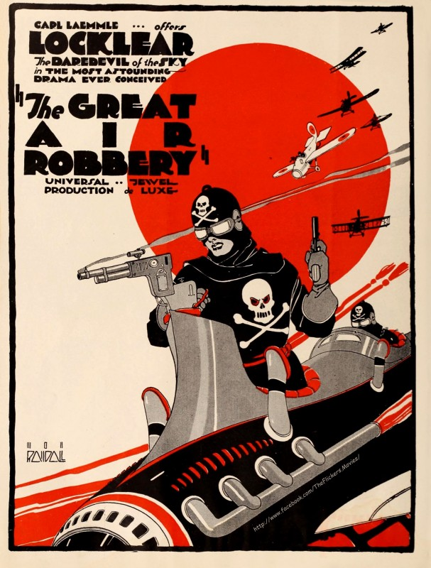 Full page ad for the Universal serial 'The Great Air Robbery' Illustration by Mon Randall ~ Moving Picture Weekly, 1920