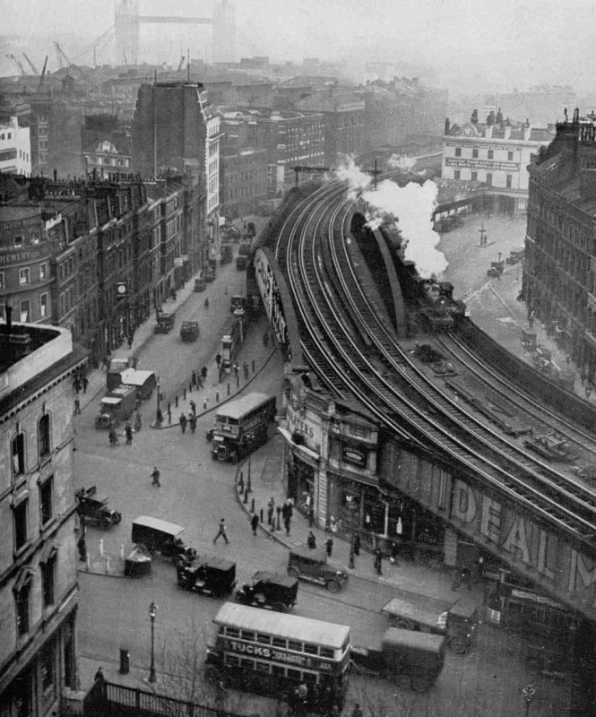 London Bridge Station as seen from the tower of Southwark Cathedral in 1932