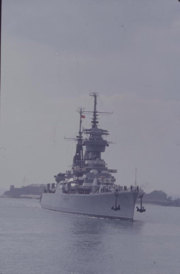 Soviet cruiser Ordzhonikidze (1950) arrives in Portsmouth carrying Nikita Khrushchev & Nikolai Bulganin for a diplomatic mission to Britain in April 1956 01