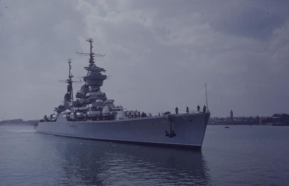 Soviet cruiser Ordzhonikidze (1950) arrives in Portsmouth carrying Nikita Khrushchev & Nikolai Bulganin for a diplomatic mission to Britain in April 1956 02