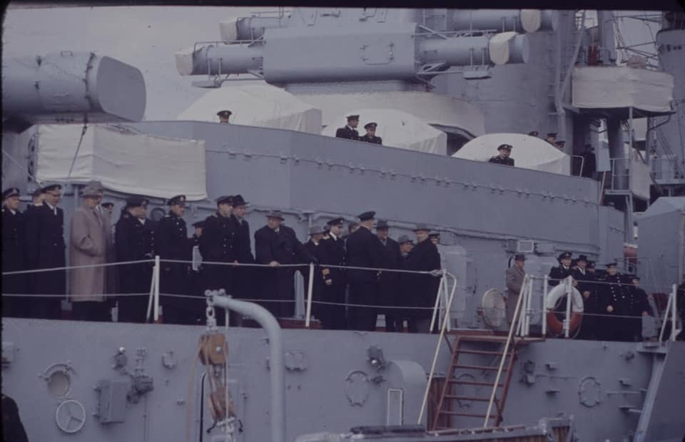 Soviet cruiser Ordzhonikidze (1950) arrives in Portsmouth carrying Nikita Khrushchev & Nikolai Bulganin for a diplomatic mission to Britain in April 1956 06